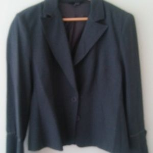 Gray blazer with tie sleeves